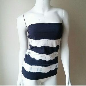 H&M Navy Blue White Tie Dye Tube Tank Top